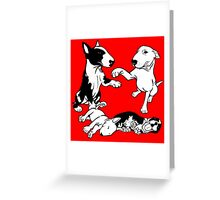English Bull Terrier Family  Greeting Card