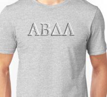 Alpha Beta Delta Lambda Greek (ABDL) Chiselled Stone Lettering Unisex T-Shirt