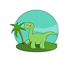 Cartoon Brontosaurus Photographic Print