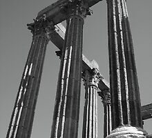 Roman Ruins in Evora, Portugal B/W by CherylBee