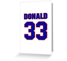 National football player Donald Strickland jersey 33 Greeting Card