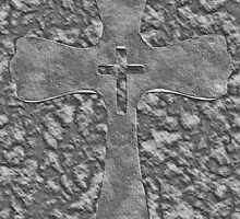 Engraved Style Cross on Stone Camo Rock Unique Crucifix by Adri Turner