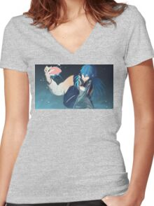 Dramatical Murder: Jerry Blaine Sly Blue Women's Fitted V-Neck T-Shirt