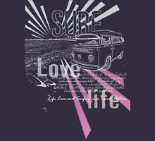 Volkswagen Kombi - Surf Life and Love -Purple Womens Fitted T-Shirt
