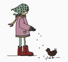 feeding chickens by MedusasCousin