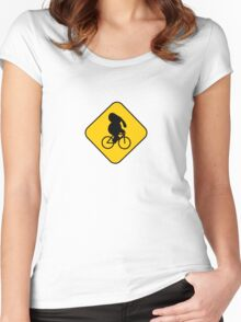 Beware of bike riding elephants Women's Fitted Scoop T-Shirt