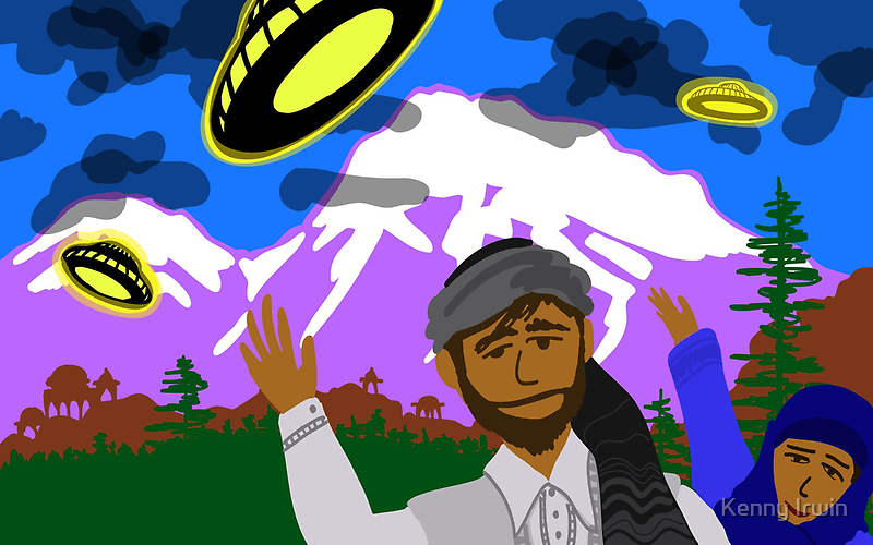 UFOs over Pathan Village in the mountains by Kenny Irwin