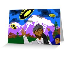 UFOs over Pathan Village in the mountains Greeting Card