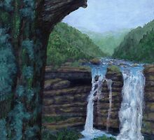 Bear Falls - Acrylic Painting by M Rogers
