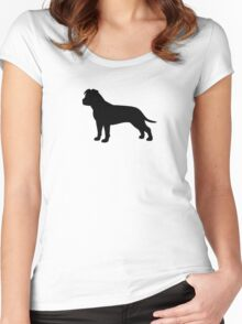 American Staffordshire Terrier Silhouette(s) Women's Fitted Scoop T-Shirt
