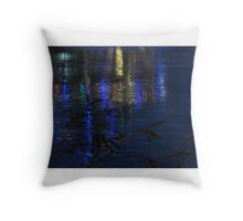 Christmas Lights on Ice Throw Pillow