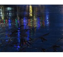 Christmas Lights on Ice Photographic Print