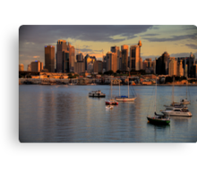 Gold & Blue- Moods Of A City # 11 - The HDR Series - Sydney Harbour, Sydney Australia Canvas Print
