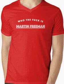 Who the Fuck is Martin Freeman? [Reversed] Mens V-Neck T-Shirt