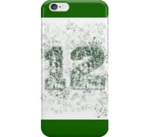 Abstract Twelve Paint Splatter - Dark Green On White iPhone Case/Skin