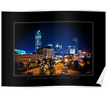 Downtown Oklahoma City - Black Border Poster