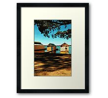 Views from the Lake II - Boathouses Framed Print