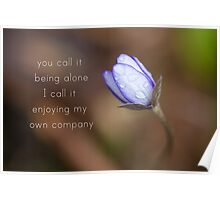 you call it being alone, i call it enjoying my own company Poster