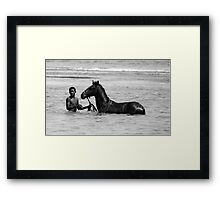 his horse Framed Print