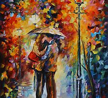 KISS UNDER THE RAIN limited edition giclee of L.AFREMOV painting by LeonidAfremov
