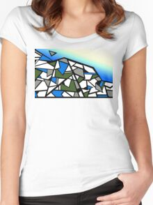 Glacier abstract blue mountain vector landscape Women's Fitted Scoop T-Shirt