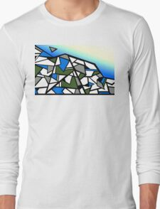 Glacier abstract blue mountain vector landscape Long Sleeve T-Shirt