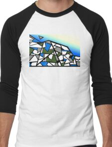 Glacier abstract blue mountain vector landscape Men's Baseball ¾ T-Shirt