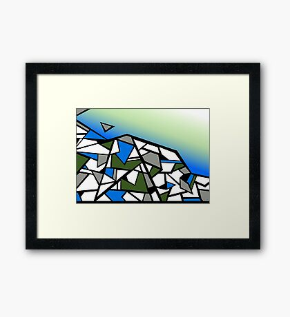 Glacier abstract blue mountain vector landscape Framed Print