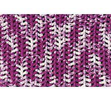 Closeup purple and white crochet pattern Photographic Print