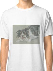 Collie dog pastel portrait Classic T-Shirt