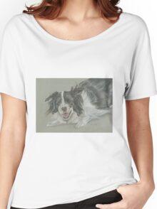 Collie dog pastel portrait Women's Relaxed Fit T-Shirt