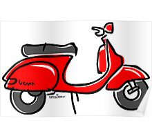 Vespa PX scooter red  Poster