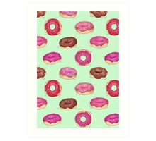 Delicious Donuts - on mint green  Art Print