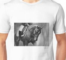 Elegance Dressage Horse in Black and White  Unisex T-Shirt