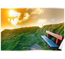 bench on a cliff edge with sunset Poster