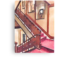 Wooden Staircase at a Japanese-style Inn Canvas Print
