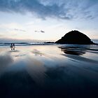 Sunset on Omata Beach by Mike Calder