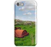 rusty abandoned agricultural heavy roller iPhone Case/Skin