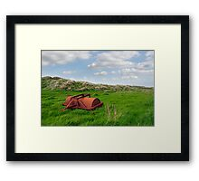 rusty abandoned agricultural heavy roller Framed Print