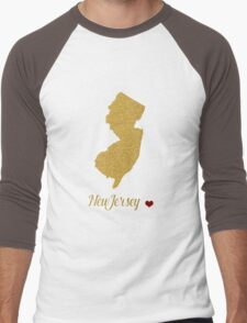New Jersay map Men's Baseball ¾ T-Shirt