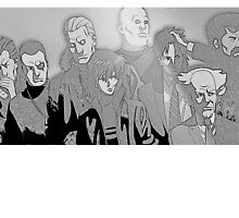 Ghost in the Shell Crew - Engraved Style by JSThompson