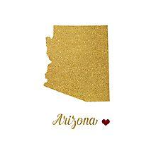Gold Arizona map Photographic Print