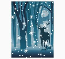Stag in Winter Forest Kids Tee