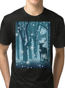 Stag in Winter Forest Tri-blend T-Shirt