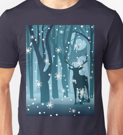 Stag in Winter Forest Unisex T-Shirt