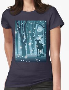 Stag in Winter Forest Womens Fitted T-Shirt