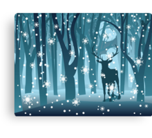 Stag in Winter Forest Canvas Print