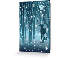 Stag in Winter Forest 2 Greeting Card