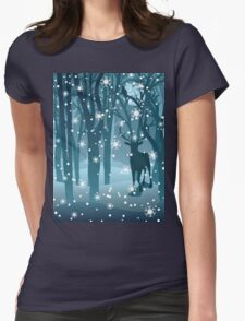 Stag in Winter Forest 2 Womens Fitted T-Shirt