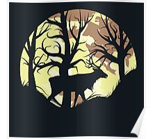 Stag over Full Moon Poster